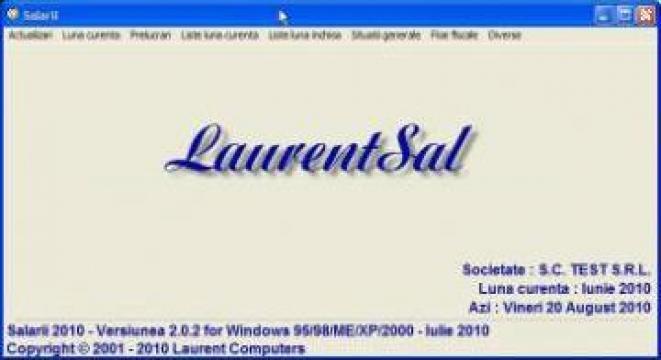 Program software salarii online LaurentSal de la Laurent Computers Srl