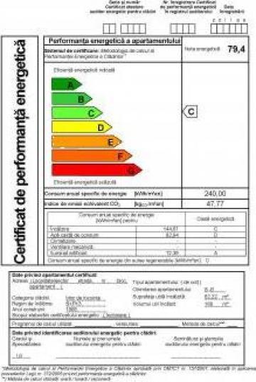 Certificat de performanta energetica de la Sc Vitastal Consulting Srl