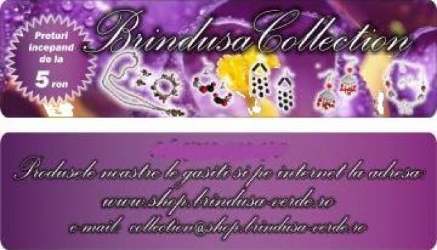 Set colier si cercei perle din sticla, Swarovski si argint de la Brindusa Collection