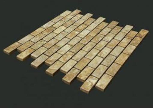 Mozaic travertin galben Tumbled Brick 1x1,5x3,2 cm de la Geo & Vlad Com Srl