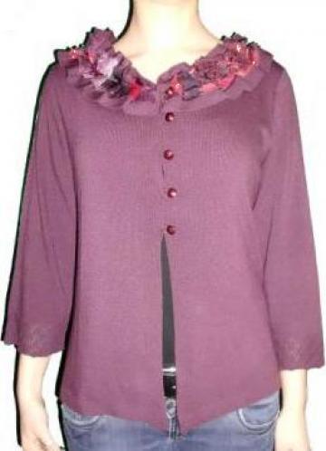 Jacheta visinie, tricotata, maneca trei sferturi de la Standonline.ro