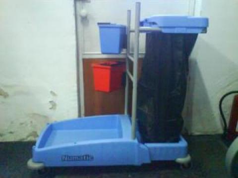 Carucior pentru transport galeti curatenie cu suport de sac de la Tehnic Clean System