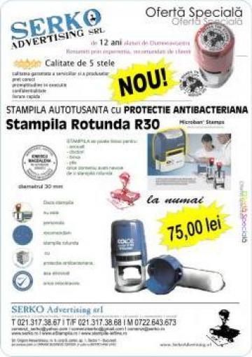 Stampila rotunda cu protectie antibacteriana de la Serko Advertising Srl