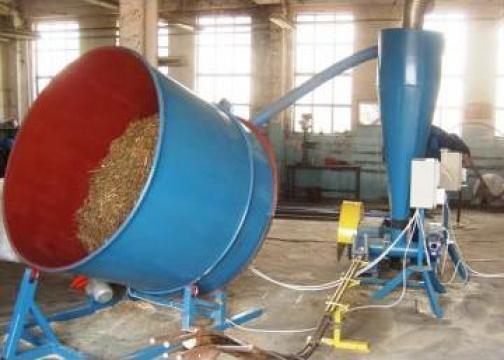 Linie productie bricheti din baloti de paie