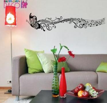 Autocolant decorativ de perete Fluture muzical de la Happy - Hippo Deco