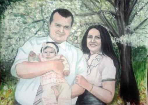 Portret de familie in tempera cu 3 membrii de la Baby Portraits - Portrete La Comanda Dupa Fotografie