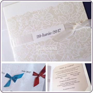Invitatii nunta, botez cu model floral de la Simonne