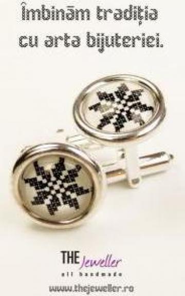 Butoni din argint 925, personalizati cu motive traditionale