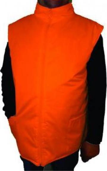Vesta portocalie matlasata de iarna