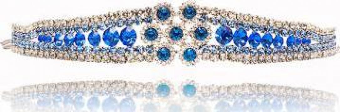 Bratara placata cu platina si cristale austriece Safiria