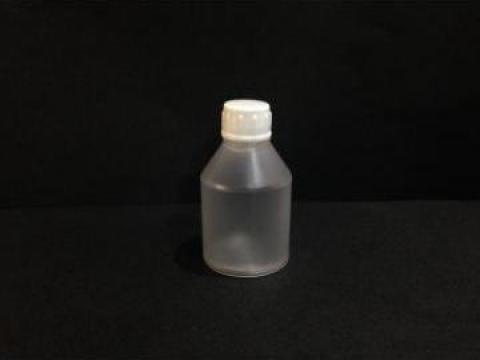 Flacon plastic transparent 25ml cu dop fi 10 alb/rosu de la Vanmar Impex Srl