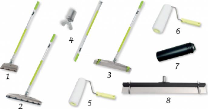 Instrumente pentru aplicat adezivi, nivelat sape