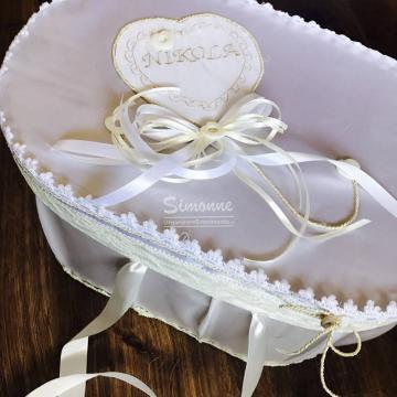 Cutie eleganta trusou botez alb ivoire Inimioare si sidef de la Simonne