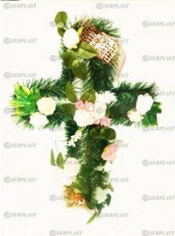 Coroane funerare din brad artificial Cruce pe suport de la Serplast Srl