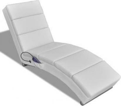 Fotoliu de masaj electric rabatabil alb de la Vidaxl