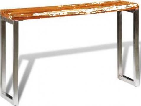 Masa consola din lemn masiv de sheesham cu picior din otel de la Vidaxl