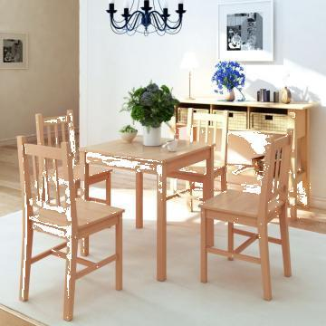 Set masa si scaune din lemn de pin, 5 piese