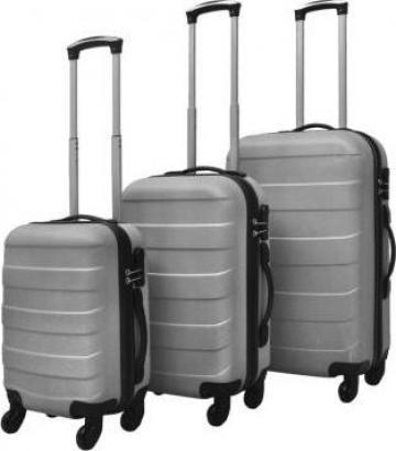 Set valize rigide argintii, 3 buc. de la Vidaxl