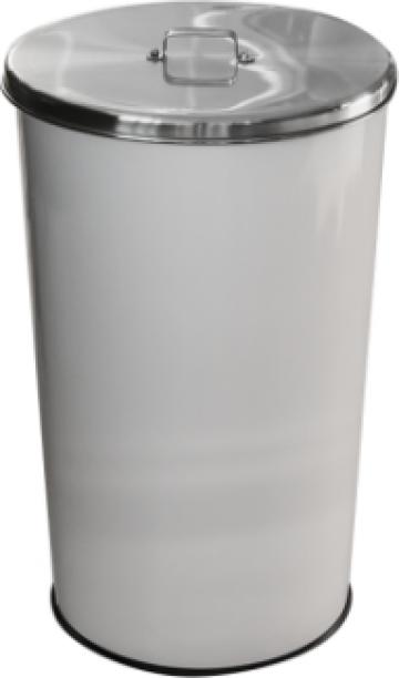 Cos gunoi cu capac inox Icikala 46litri 36x36xh60cm alb de la Basarom Com