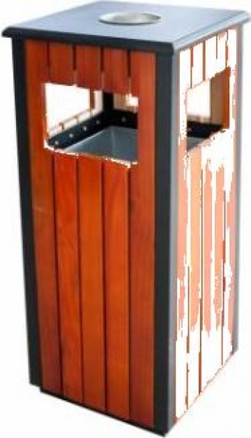 Scrumiera exterioara cu cos gunoi Icikala patrat lemn de la Basarom Com