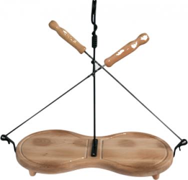 Platou lemn Osmorca set 2 tepuse frigarui 35cm si solnita de la Basarom Com
