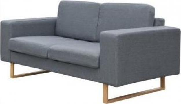 Canapea textila pentru 2 persoane, gri deschis de la Vidaxl