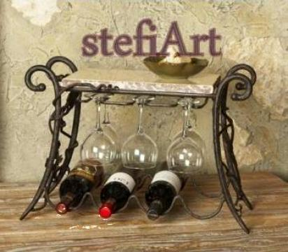 Suport sticle si pahare pentru vin din fier forjat manual de la Stefiart Design Srl