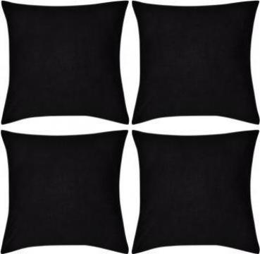 Huse de perna din bumbac, 50 x 50 cm, negru, 4 buc.