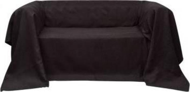 Husa din velur microfibra pentru canapea 210 x 280 cm, maro