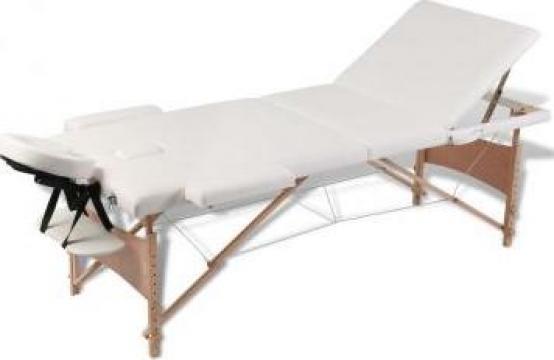 Masa de masaj pliabila 3 parti cadru din lemn Crem de la Vidaxl