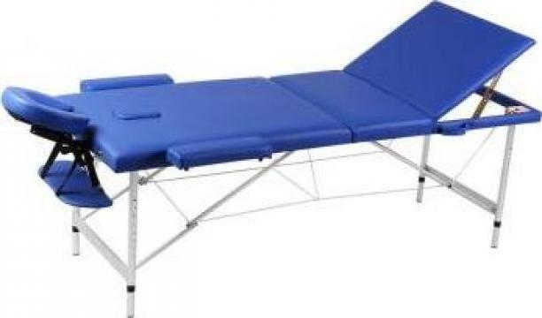 Masa de masaj pliabila cadru din aluminiu 3 parti albastru de la Vidaxl
