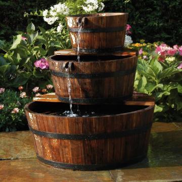 Fantana de gradina cascada 3 butoaie din lemn Ubbink de la Vidaxl