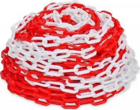 Lant din plastic pentru semnalizare 30 m, rosu si alb de la Vidaxl