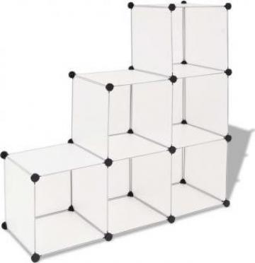 Dulap de depozitare cub, cu 6 compartimente, alb