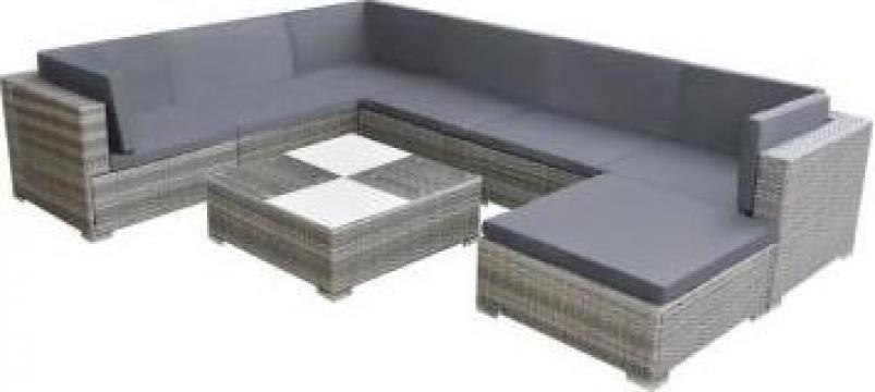 Set mobilier de gradina, 24 piese, poliratan, gri