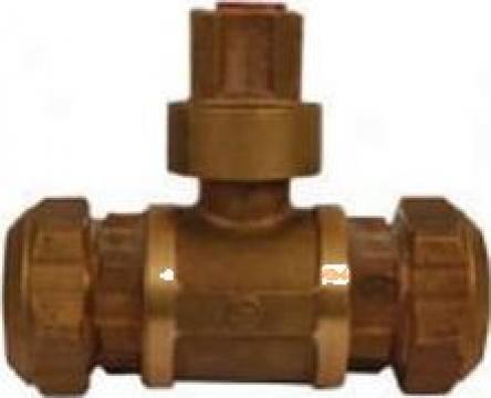 Robinet concesie cu bila, din bronz, cu racord PE De 40mm de la Duna Armatura Bucuresti Srl