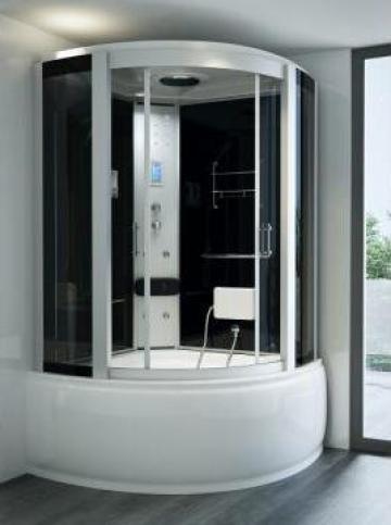 Cabina hidromasaj cu sauna umeda semirotunda 130cm de la Herold Trade Srl