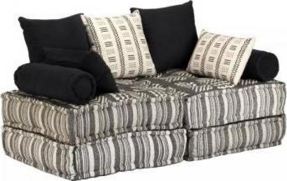 Canapea modulara cu 2 locuri, material textil, dungi de la Vidaxl