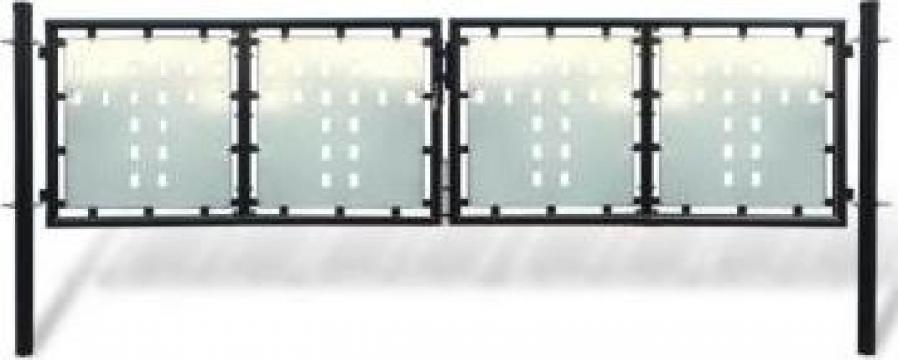 Poarta dubla neagra pentru gard 300 x 150 cm de la Vidaxl