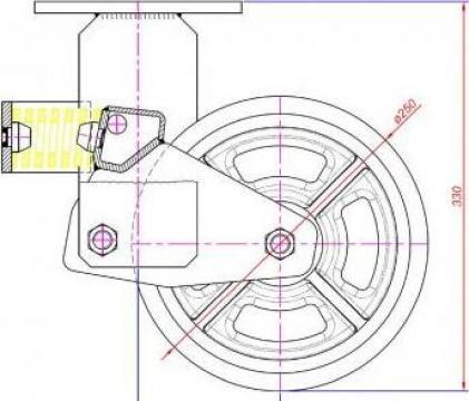 Roata pivotanta cu arcuri, 250x60 mm, cauciuc elastic de la Parcon Freiwald Srl