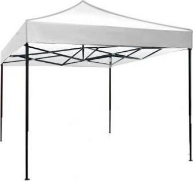 Pavilion, cort gradina pliabil Raki 3x3m, cadru metalic alb de la Basarom Com