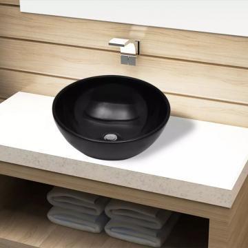 Chiuveta ceramica pentru baie, rotunda, neagra de la Vidaxl