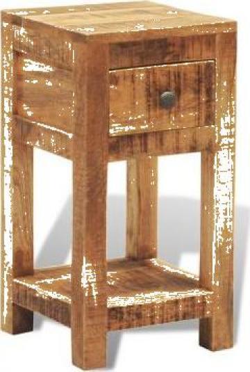 Noptiera cu 1 sertar, lemn masiv de mango de la Vidaxl