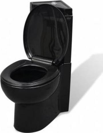 Vas WC din ceramica, negru de la Vidaxl