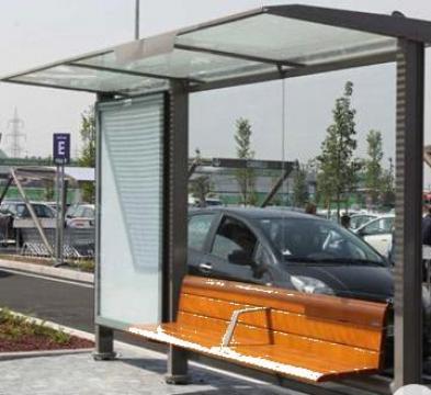 Statie autobuz cu panou info iluminat cu led de la Miracons Proiect Srl