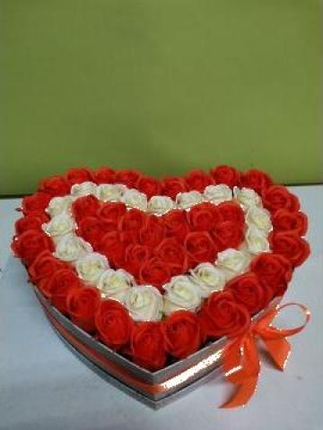 Cadou Inima trandafiri portocalii 0088 de la Floraria Stil