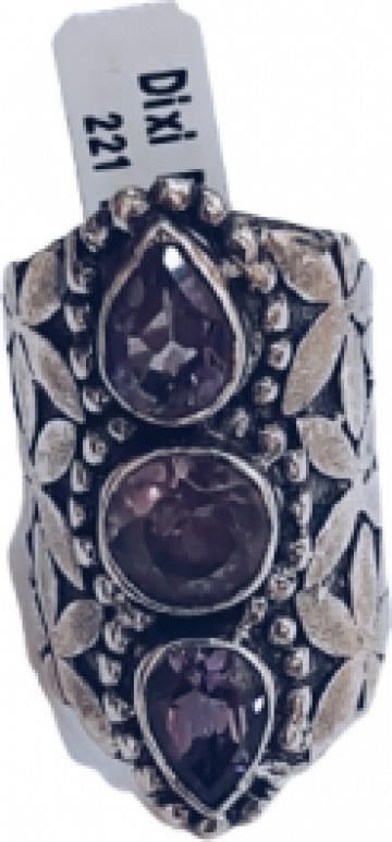 Inel din argint 3 ametiste de la Dixi Bijou Srl