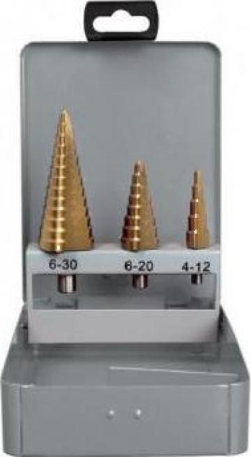 Set 3 burghie in trepte 4-30 mm HSS TIN F639 de la Proma Machinery Srl.