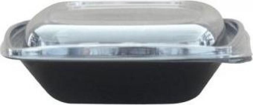 Bol salata patrat negru 750cc+capac transparent 300 buc/bax de la Cristian Food Industry Srl.