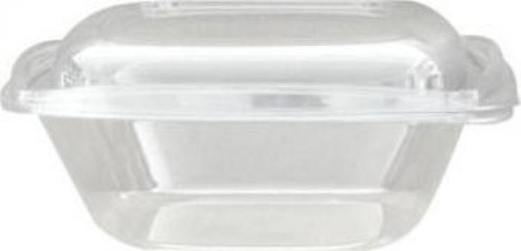 Bol salata patrat transparent 1000cc+capac transp.300buc/bax de la Cristian Food Industry Srl.